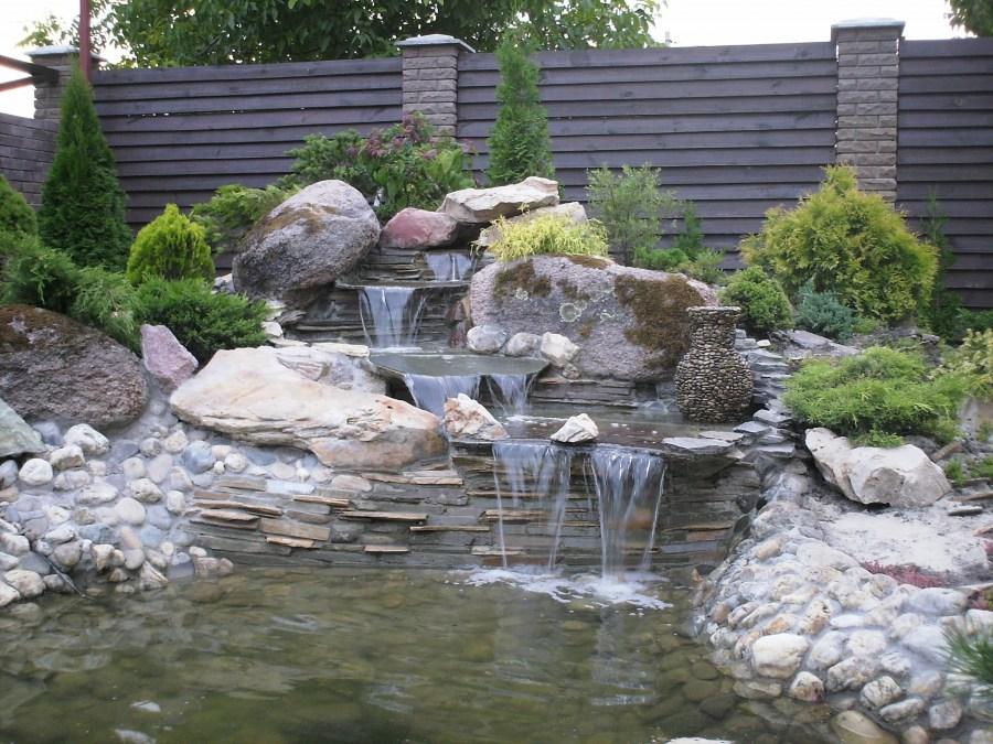 Ручей с фонтаном своими руками 63